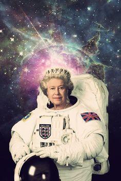 Queen Elizabeth II Astronaut Poster A Royal Space Print Psy Art, Queen Elizabeth Ii, Queen Elizabeth Portrait, Trippy, Framed Art Prints, Collage Art, Martial, Iphone Wallpaper, Modern Art