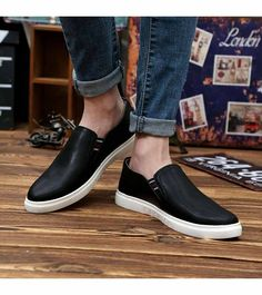Men's #black shoe #sneakers simple design, sewing thread design, fashion label, Slip on style, casual, leisure occasions.