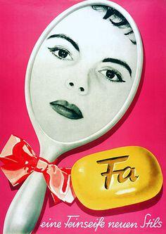 Fa ' a fine new style soap'  c.1950s http://www.vintagevenus.com.au/vintage/reprints/info/FAS213.htm
