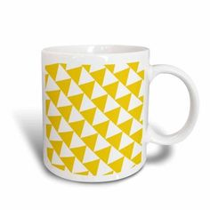 3dRose Triangle pattern - Yellow and white retro diagonal geometric design, Ceramic Mug, 11-ounce