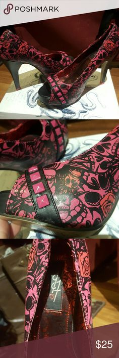 Muertos red/pink punk princess heel Sexy unique punk rock skull and rose stilettos. Worn once Manmade materials  4 1/2 inch heel 3/4 inch covered peep toe front platform US 8 Uk39 Iron Fist Shoes Heels