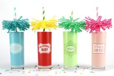 Not only are these cupcake liners-turned-drink-toppers awesome, but I've got to find out where to get those drink glasses! Make pom pom fringe drink toppers HERE at the Daily Mixer. Gin Fizz, Party Drinks, Fun Drinks, Cocktails, Decoupage, Polka Dot Party, Diy Party, Party Ideas, Event Ideas