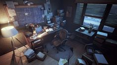 This is the scene I have been working on for the Ubisoft Toronto NXT showcase Art contest. Modern Assassin, Detective Aesthetic, Art Noir, Matte Painting, Environment Concept Art, Escape Room, Home Office Design, Illustrations, Indoor