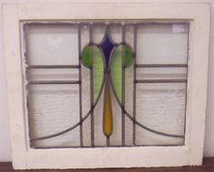 OLD ENGLISH LEADED STAINED GLASS WINDOW Diamond Design