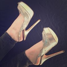 "Jimmy Choo Slingback Pumps in Glitter Champagne  Look like Barbie.These give you fabulously toned legs! Flirty peep toe!  Worn once for photos. Perfect for bridal or a boudoir shoot. Or if you want to look fabulous & take baby steps Comes with box & dust bag (box in used condition)  ‼️size 40/a US size 10 but fits more like a 8.5 or 9 * Adjustable strap with buckle closure. * Approx. heel height: 5"" with a 3/4"" platform (comparable to a 4 1/4"" heel). * Fabric upper/leather lining and sole…"