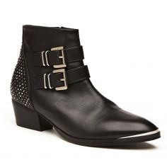 Witchery - Sienna Boot   Detailed boot with studded feature on the back, double buckles and metal trim on the toe.