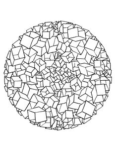 Free coloring page free-mandala-to-color-cubes-3d. It's look like this mandala drawing is in 3 dimensions !