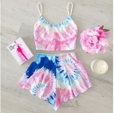 Sweet Pink and Blue Tie Dye Shorts Twinset! - Sweet Pink and Blue Tie Dye Shorts Twinset! Two Piece Dress, Two Piece Outfit, Festival Outfits, Festival Fashion, Rave Outfits, Summer Outfits, Tie Dye Outfits, Two Piece Rompers, Teen Fashion