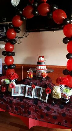 Ladybug Baby Shower...red And Black Cake And Candy Table