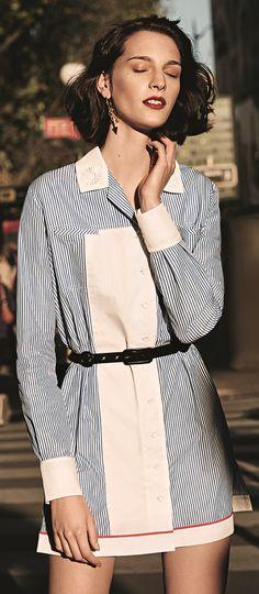 Robe en coton et ceinture en cuir #Carven, Boucle d'oreilles #SabrinaDehoff. #LeBonMarche #pe2016 #ss2016 #fashion #women