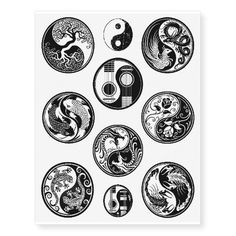 Ten Unique Black Yin Yang Designs Collection Temporary Tattoos
