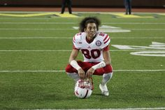Kenny Bell taking a moment after the win against Michigan 11/9/13.