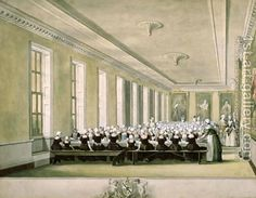 The Girls Dining Room of the Foundling Hospital, 1773 by John Sanders - Reproduction Oil Painting Jane Austen, British Literature, London History, American Revolutionary War, Old Street, Regency Era, Rococo Style, Oil Painting Reproductions, Queen