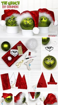 Grinch Christmas Decorations, Grinch Ornaments, Christmas Ornament Crafts, Christmas Crafts, Diy Xmas Decorations, Grinch Trees, Diy Ornaments, Homemade Christmas, Diy Christmas Gifts