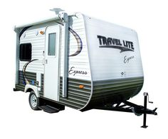 The Travel Lite Express E14 is a travel trailer with a dinette and bathroom with a base weight is 1,785 pounds.  It can be towed behind a vehicle.