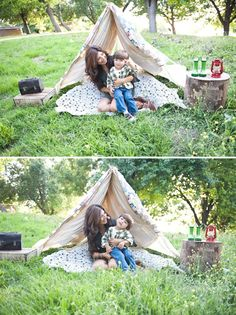 "Summertime ""Camping"" Family Session. Love this idea."