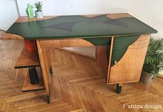 Redesigned desk from 1959: oryginal project: Puchała, renovation: F'anapa design  #desk #renovation #60s #50s #furniture #modern #green #minimalism #scandi #minimal #prl #design