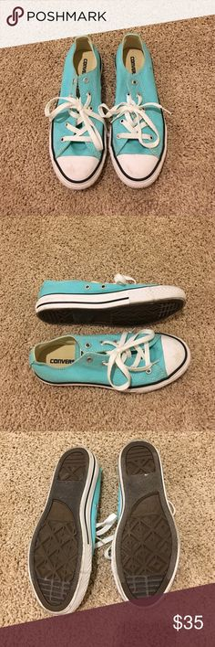 Tiffany blue converse Youth size 3, fits like women 6, only worn handful of times, great condition Converse Shoes Sneakers