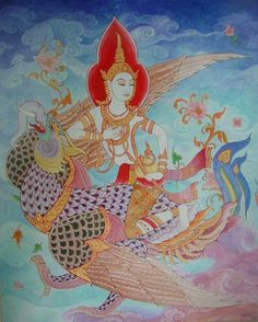 www.pinterest.comArt By Tigermyuou, Thai Art Jpg, Art Illustrations Tattoos, ศิลปะไทย Thai Art, Laithai Art, Thai Artwork, Angel Thai