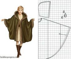 Coats from one piece of fabric with edge trim (Translate) Coat Patterns, Dress Sewing Patterns, Clothing Patterns, Sewing Clothes, Diy Clothes, No Sew Cape, Cape Pattern, Diy Kleidung, Sewing Techniques