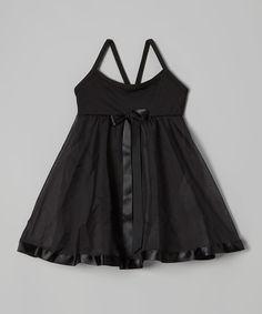 Look what I found on #zulily! Black Ribbon Babydoll Skirted Leotard - Toddler & Girls by Ferreira #zulilyfinds