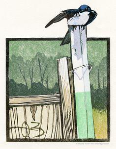 Sherrie York Art - Tree swallow reduction linocut