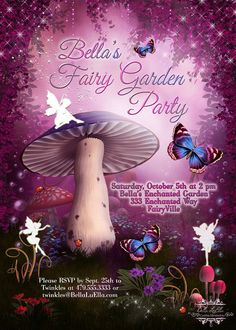 Items similar to Fairy Invitation, Fairy Party Invitation, Birthday Party Invitations, Fairy Garden Party, Whimsical Invitations on Etsy Garden Birthday, Fairy Birthday Party, Birthday Parties, Enchanted Forest Party, Birthday Party Invitations Free, Party Themes, Party Ideas, Holidays And Events, Whimsical