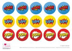 Free Superhero Party Printables   Cupcake Toppers   CatchMyParty.com