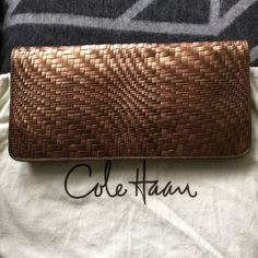 """Cole Haan Leather Genevieve Clutch Cole Haan Leather Genevieve Oversized Clutch. Color: Light Copper. Size: approx. 14 5/8"""" by 7"""". Magnetic Closure, equipped with a zipped internal pouch and 4 card slots. NEVER USED WITH TAG. EXCELLENT CONDITION with Dust Pouch. Cole Haan Bags Clutches & Wristlets"""