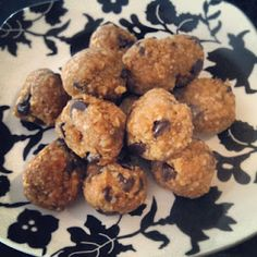 Peanut butter protein balls. My favorite recipe! (honey, oats, flax seed, applesauce, peanut butter and chocolate chips