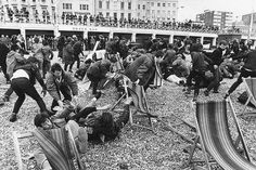 Mods and Rockers at the Brighton riots, UK, 1964