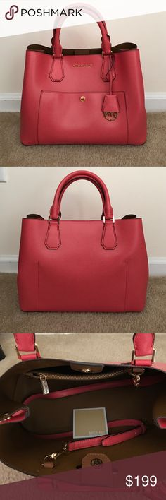 Michael Kors Coral Satchel Brand new without tags. Color: watermelon. Michael Kors Bags Satchels
