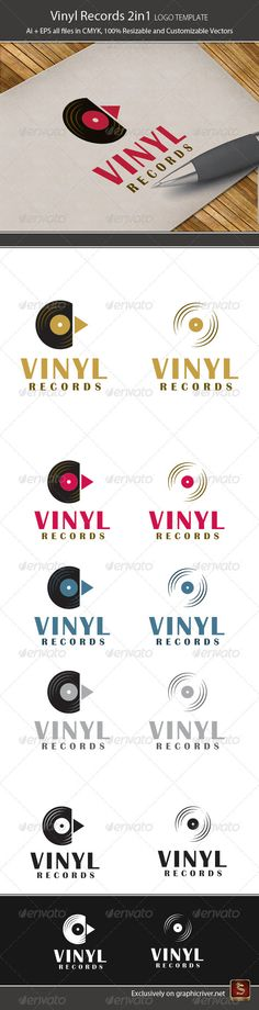 Vinyl Records 2in1  - Logo Design Template Vector #logotype Download it here: http://graphicriver.net/item/vinyl-records-2in1-logo-template/2289198?s_rank=464?ref=nexion