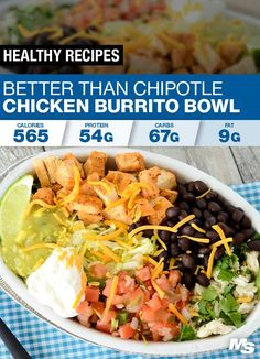 Mexican seasoned chicken cilantro lime rice guacamole oh my! Get your healthy on with this high protein macro-friendly & delicious chicken burrito bowl! For more delicious recipes check out Sport Nutrition, Nutrition Sportive, Nutrition Education, Nutrition Chart, Nutrition Quotes, Nutrition Activities, Child Nutrition, Nutrition Tips, Healthy Nutrition