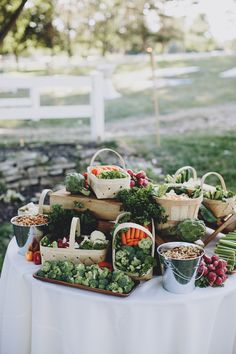 love this! veggie table at wedding cocktail hour