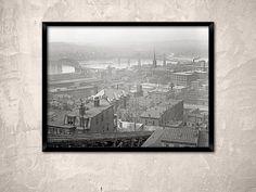 Cincinnati, Ohio,year 1900, historical photo.View from Mount Adams, Cincinnati, OH.Vintage Cincinnati wall art black and white poster.
