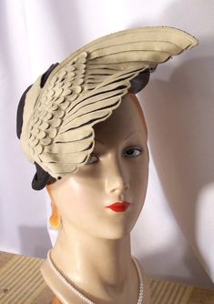 Tarnished Past~Ladies' Antique & Vintage Hats  Circa 1930s Black & Ivory Felt Bird Wing Hat  Adorable