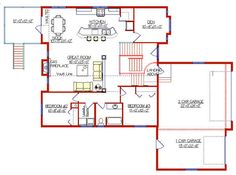 Modified Bi-Level with Garage 2004135 by E-Designs too big probably 3 Car Garage, Basement, House Plans, New Homes, House Ideas, Floor Plans, Home And Garden, Houses, Flooring