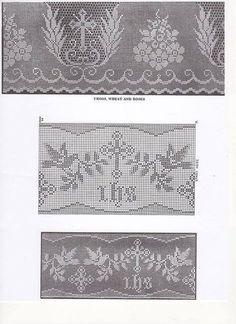 Crochet Lace Pattern for Church Linen, Church Crochet, Church Linen, Wide Altar Cloth Lace, Shaw Filet Cross, Cross and Star Edging #crochetedgings