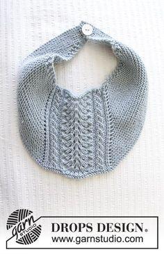 Babeiro em ponto jarreteira e ponto rendado. Tricota-se em DROPS Baby Merino. Modelo gratuito de DROPS Design.