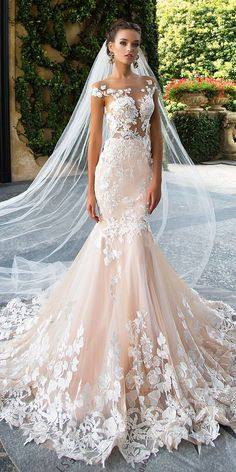 Mermaid Wedding Dresses :     Picture    Description  Fabulous Betty wedding gown made of classy lace and gauze. 3D lace pattern decoration and mermaid silhouette make this dress luxurious and irresistible. Beautiful back of the dress is opened and zipped. The peach shade skirt extends from... - #Mermaid https://weddinglande.com/dresses/mermaid/mermaid-wedding-dresses-fabulous-betty-wedding-gown-made-of-classy-lace-and-gauze-3d-lace-pattern-decor/