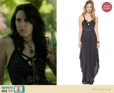 Wendy's cross strap maxi dress on Witches of East End.  Outfit Details: http://wornontv.net/35525/ •  hahaha nice sceencap!
