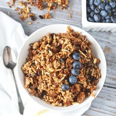 This Paleo Cinnamon Granola is grain free, crunchy, lightly sweetened, and perfect for breakfast or snacking. Mixed in one bowl and completely done in 30 minutes- too easy not to try!!