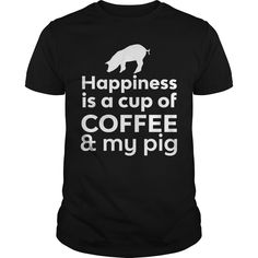 Get yours hot Happiness Is Coffee & My Pig T-shirt Shirts & Hoodies.  #gift, #idea, #photo, #image, #hoodie, #shirt, #christmas