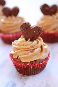 Valentine Brownie Cupcakes with Peanut Butter Frosting from Half Baked Harvest