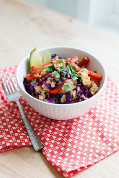Red Cabbage Stir Fry  [add meat if desired]                   via A Beautiful Mess.  Wendy Schultz - Stir Fry & Asian Recipes.