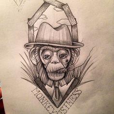 #tattoo #tattoos #tattooflash #draw #drawing #inkeliblytattoo #follow #cool #instagood #instago #art #artist #illustration #design #neotraditional #ink #design #oldschool #inked #tatouage #dessin #markermasters #promarker #artwork #beautiful #tattooapprentice #sketch #monkey #dandy #business #Padgram