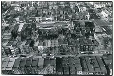 Aerial view of H Street NE, between 11th and 12th Streets NE, Washington, DC. After 1968 riots.