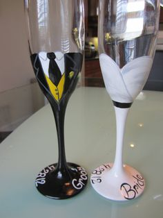 Bride and Groom toasting flutes Hand Painted