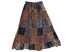 Maxi Skirt Brown Floral Printed Patchwork Gypsy Skirts for Womans Mogul Interior,http://www.amazon.com/dp/B00FTVO74A/ref=cm_sw_r_pi_dp_SIczsb005YPS2D4Z